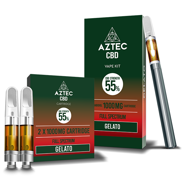 Aztec Gelato 55% CBD Vaping and Cartridge kit