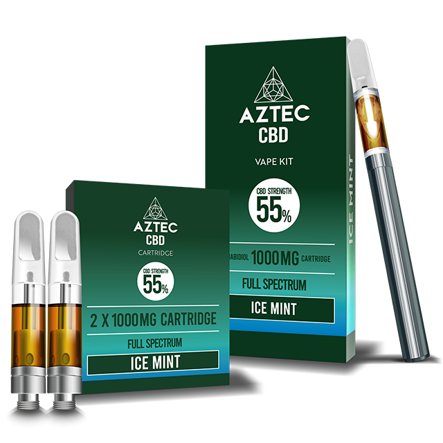 Aztec Ice Mint 55% CBD Vaping and Cartridge Kit