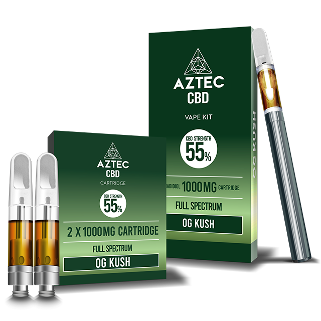 Aztec O.G Kush 55% CBD Vaping and Cartridge Kit