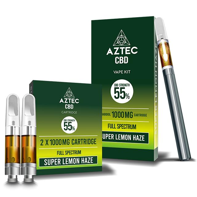 Aztec Super Lemon Haze 55% CBD Vaping Cartridge Kit