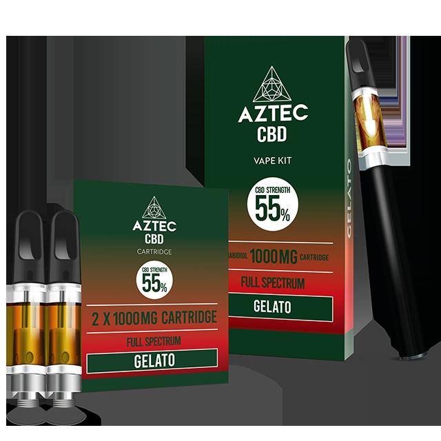 Aztec Gelato 55% CBD Vaping and Cartridge kit