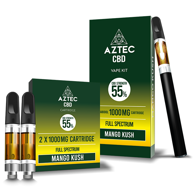 Aztec Mango Kush 55% CBD Vaping and Cartridge