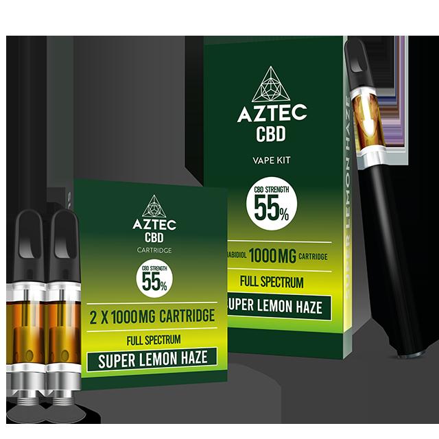 Aztec Super Lemon Haze 55% CBD Vaping Cartridge Kit