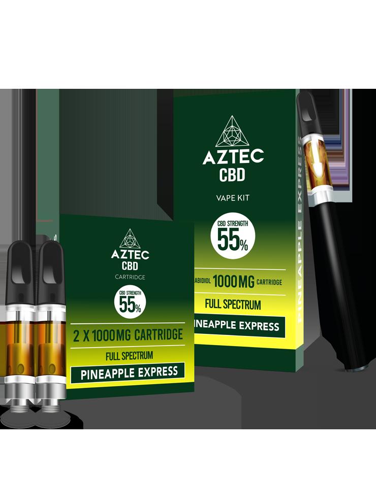 Aztec Pineapple Express 55% CBD Vaping and Cartridge Kit